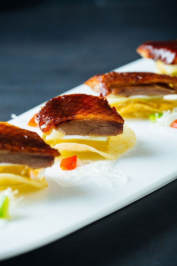Peking Duck with Osmanthus Flower Jelly on Potato Chip