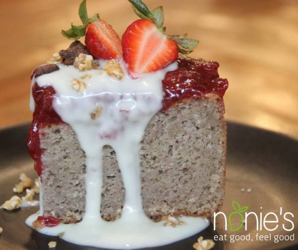 Strawberry Cashew Cake by Nonie's fb page