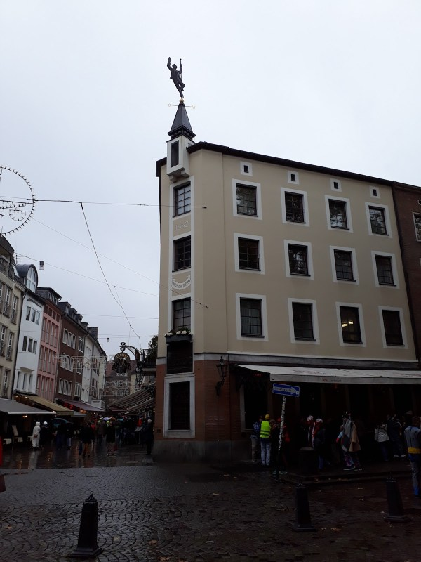 The Zum Uerige, with its recognisable weather vane on top of the building.