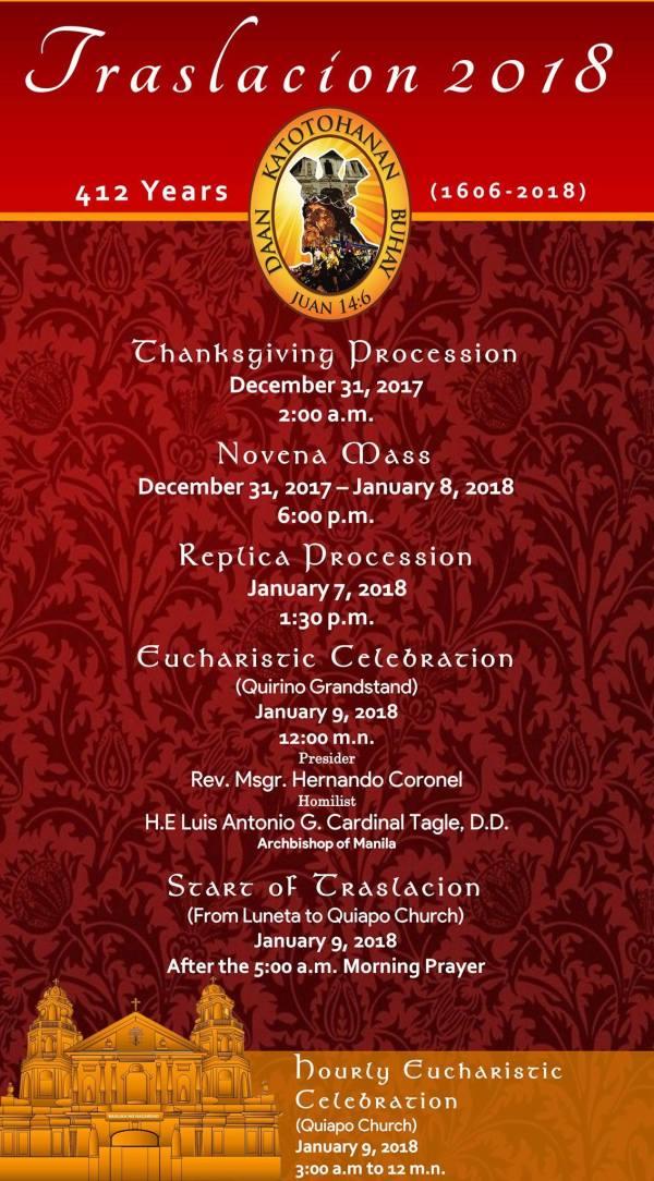 Traslacion 2018 Calendar of Activities