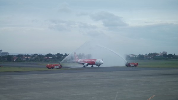 Water Canon Salute to welcome flight AK590 from Davao