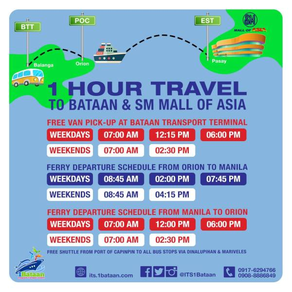 Bataan to SM Mall of Asia via Orion Ferry Schedule