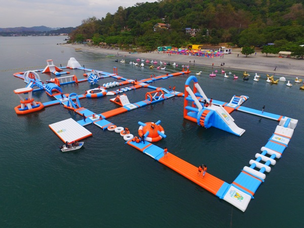Aerial shot of the Inflatable Islands in Zambales.