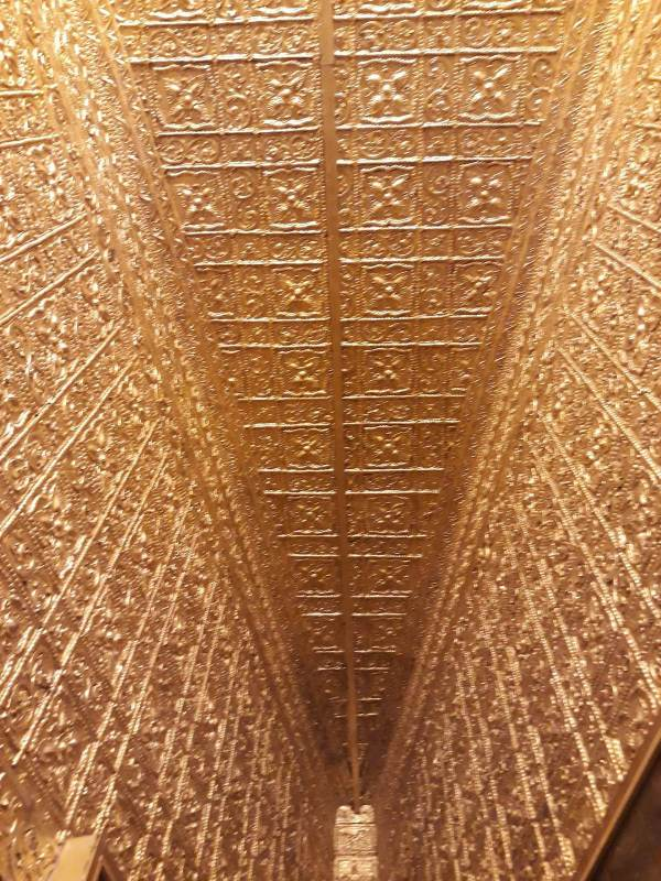 Gold plated ceiling in Botataung Pagoda.