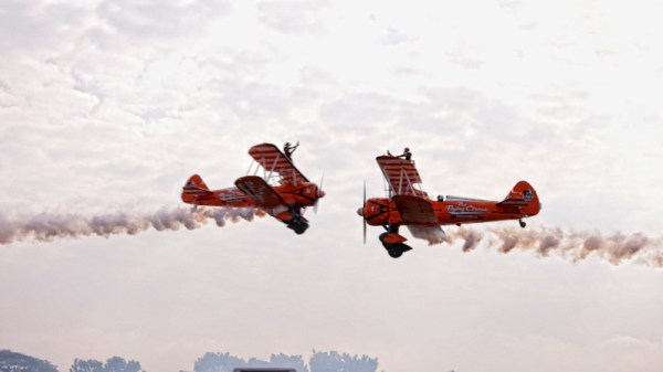 The two Boeing Stearman biplanes meets each other on air