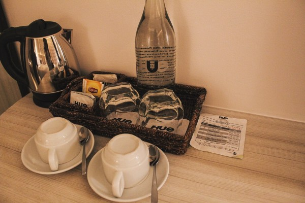 The coffee and tea making facilities.