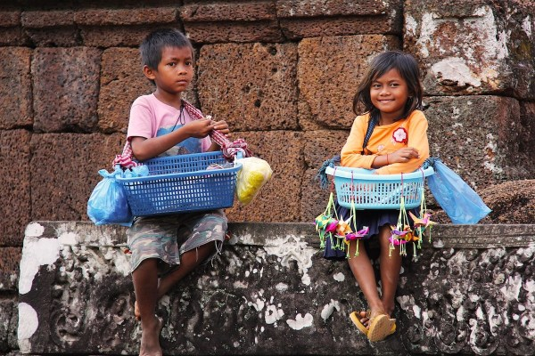 Cambodian Kids selling Souvenirs