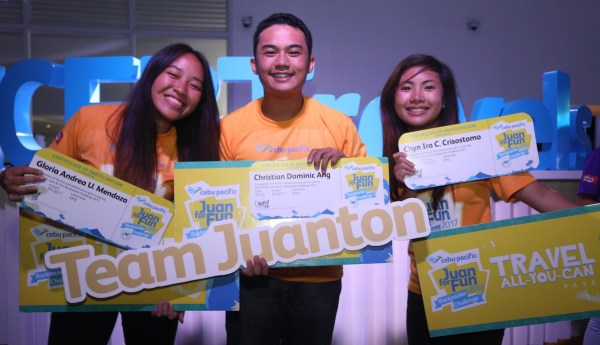 Gloria Andrea Mendoza, Christian Dominic Ang and Chyn Ira Crisostomo of Davao City went on the trip of a lifetime at last year's Juan for Fun Backpacker Challenge.