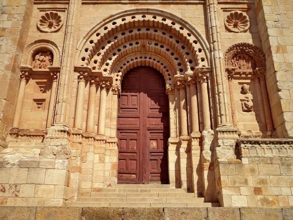 Door of Zamora Cathedral in Castilla Y Leon Spain