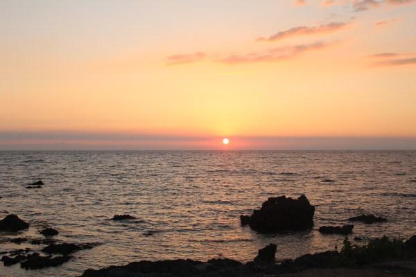Sunset at the beach club.