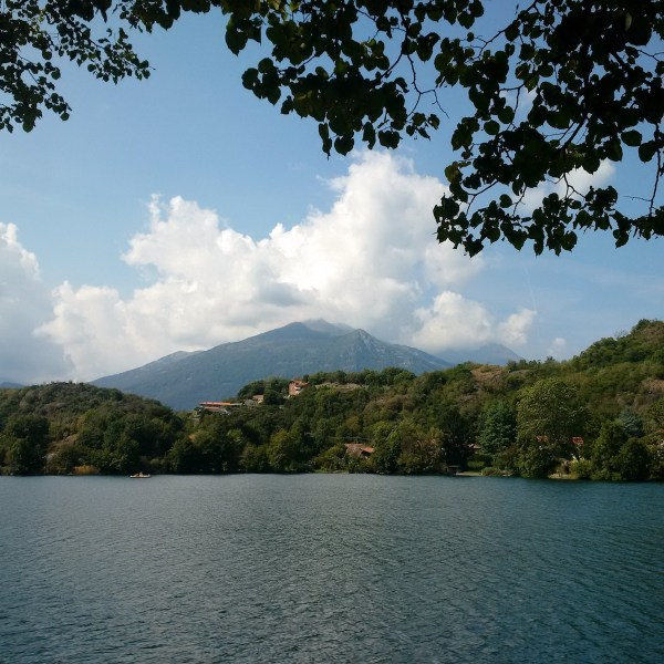 The mountainous range of Ivrea hovering beyond Lake Sirio