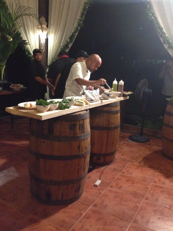 Chef JP Anglo demos the creation of his new Santan in-flight meal.