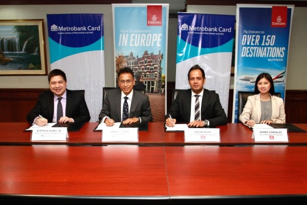 Emirates and Metrobank recently entered a partnership that gives Metrobank cardholders discounts for Emirates flights to Europe when they book their flight using their Metrobank debit and credit card. In the photo are (from left to right) Metrobank Head of Prepaid Card Business Aloysius Alday, Metrobank President Pradeep Pant, Emirates Philippine Country Manager Satish Sethi, and Emirates Philippines Sales Manager Barbie Gonzales.
