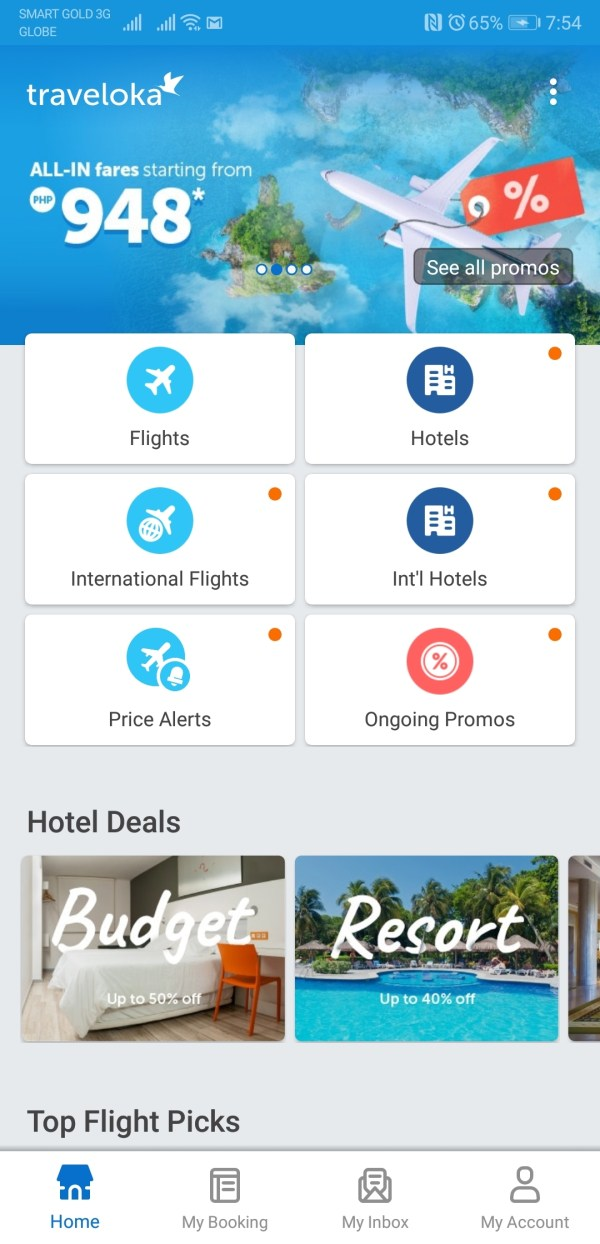 Search for Cheapest Flights via Traveloka App