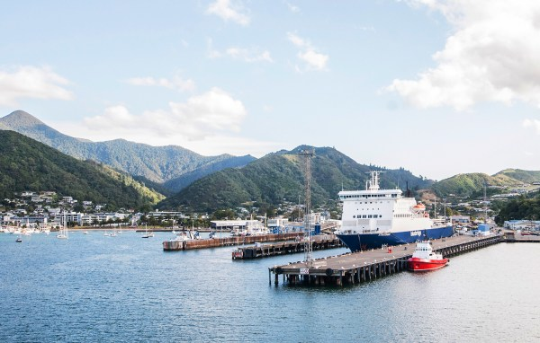 The port in Picton hemmed in by mountains.