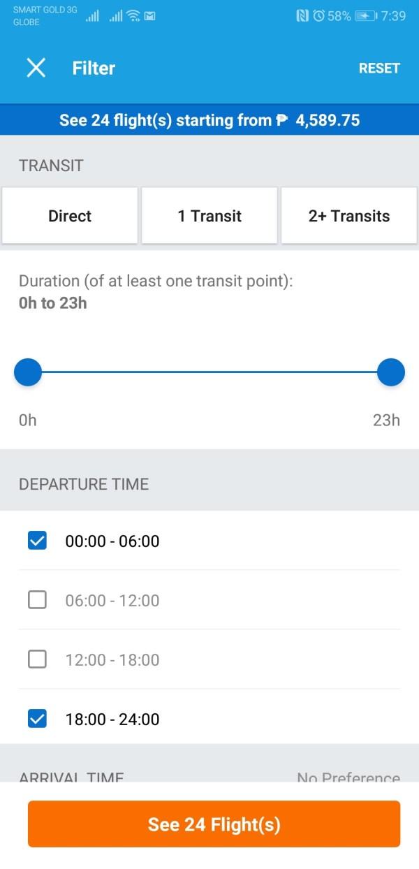 Traveloka Flight Booking using Filter