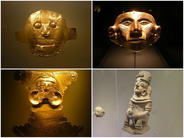 Gold Pieces at Museo del Oro in Colombia photo via wikipedia