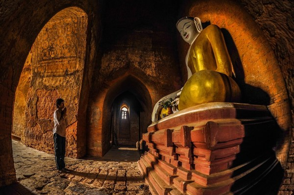 Inside a temple in Old Bagan