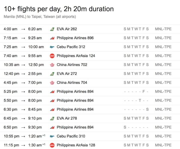 Manila to Taipei Taiwan Flight Schedule