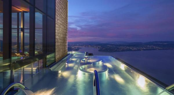 Nestled on the edge of a cliff at the Bürgenberg, 500 metres above Lake Lucerne, the Alpine Spa offers sweeping views of lake, and the infinity pool offers the perfect spot to watch the sunset after a day of indulgent treatments.