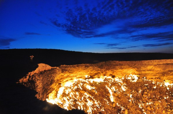 Crater of Fire - Darvaza Gas Crater by Bruno Vanbesien via Flickr CC
