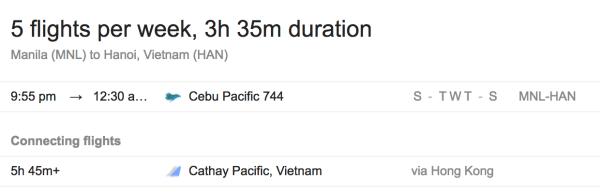 Manila to Hanoi Direct Flights