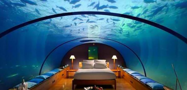 Underwater Luxury Hotel Room at Conrad Rangali Island Resort