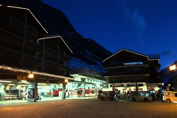 Breaking dawn at the station in Zermatt, the starting point of the Glacier Express journey.