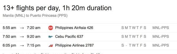 Direct flights from Manila to Puerto Princesa City