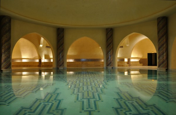 Inside of a traditional Hammam in Morocco Africa