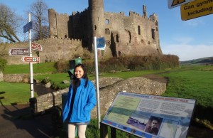 Sarah at Laugharne Castle