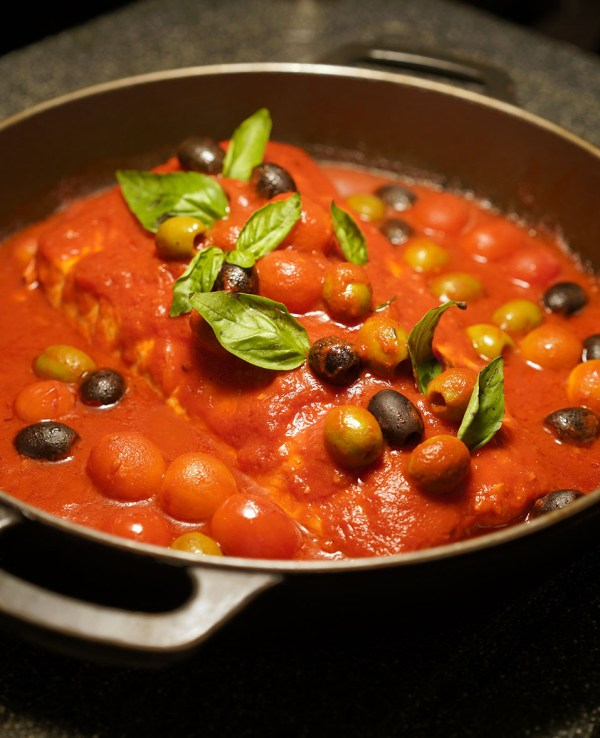 Sea Bass with Tomatoes, Olives and Basil