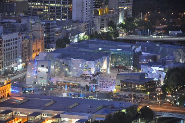 Federation Square photo by Jorge Lascar via Wikipedia CC