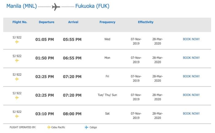 Manila to Fukuoka Flight Schedule as of November 2019