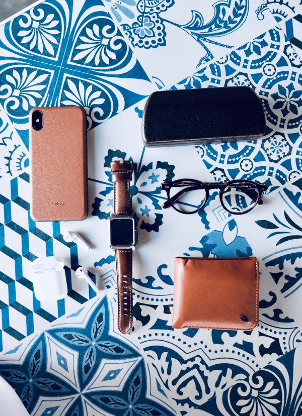 Flatlay of my favorite travel gadget and accessories