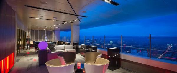 A panorama of Vu's Sky Bar and Lounge
