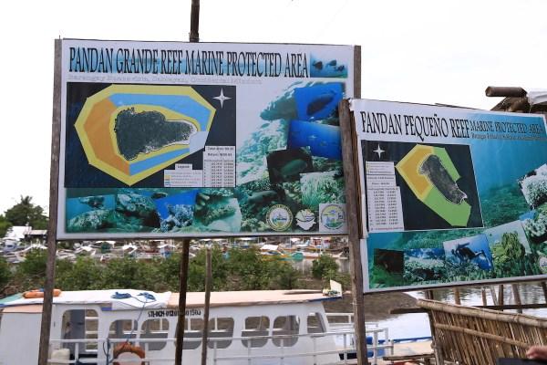 Boat to Pandan Grande Reef Marine Protected Area