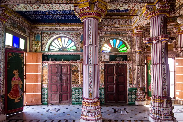 Colorful works of art inside Bhandasar Jain Temple