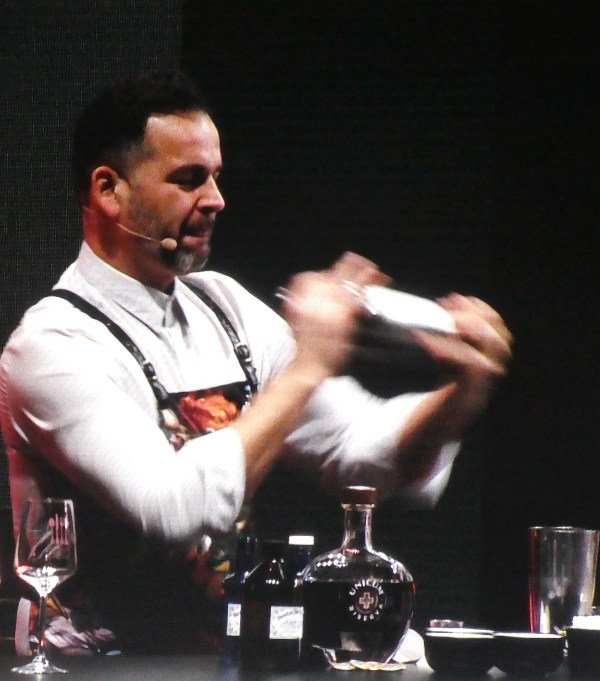 Hungarian bartender Zolton Nagy of Botique Bar in Budapest creating a mixed drink to pair