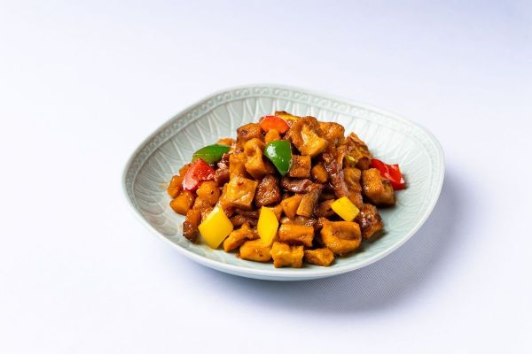 Chiu Chow Marinated Diced Pork and Bell Pepper