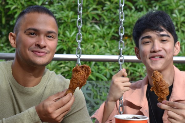 Mateo Guidicelli and Zaijan Jaranilla at the launch of Popeyes ATC branch