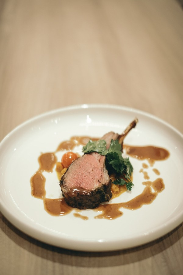 ROASTED LAMB RACK (with cumin honey, saffron pumpkin, parsley)