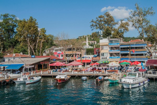 The busy dock where we disembarked in Anadolu Kavagi is lined with so many restaurants vying for the best views of the waterfront.