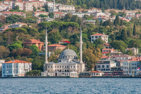Another mosque on the waterfront in a busy district of the Bosphorus.