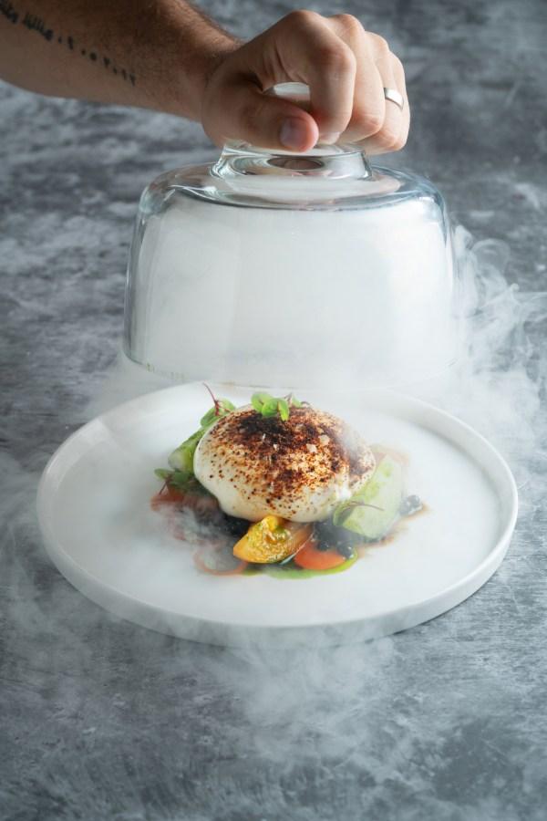 SKYE GastroBar : Local and Organic Heirloom Tomatoes with Smoked Burrata Cheese