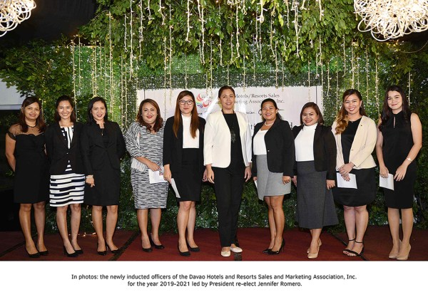 The newly inducted officers of the Davao Hotels and Resorts Sales and Marketing Association Inc