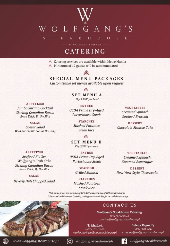 Wolfgang's Steakhouse Catering Flyer