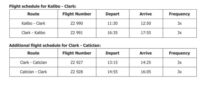 AirAsia Clark to Kalibo and Caticlan Flight Schedule