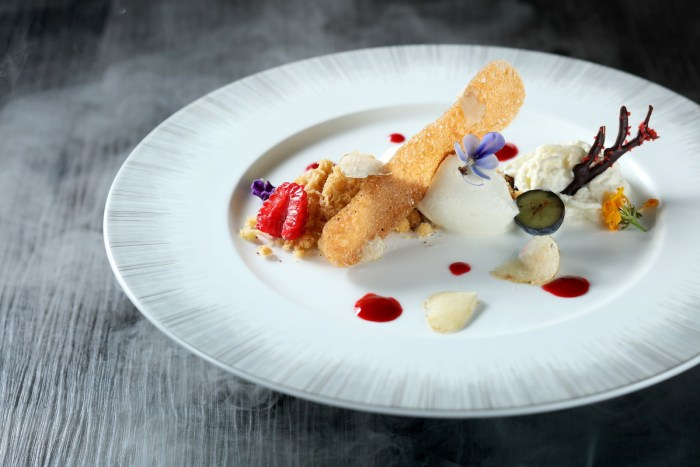 White truffle ice cream with hazelnut sponge cake and mascarpone cheese foam