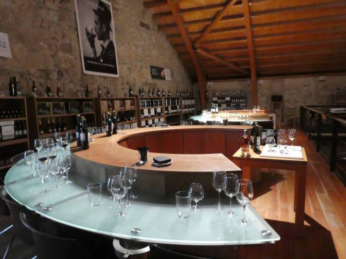 two wine tasting stations in the loft of the wine cellar